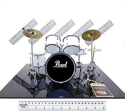 Mini Drum Set PEARL white Batteria gadget hard memorabilia miniature ROCK kit