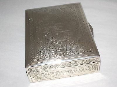 Egyptian silver box engraved with beautiful details hallmarked circa approx 1946