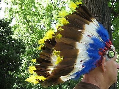 Authentic Native American Indian Handmade Headdress- Vintage- Early 1900's