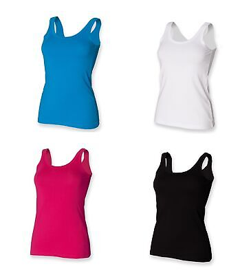 Ladies Modern Fit Stretch Tank Top Vest Top Black White Blue Fuschia SK103