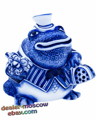 Russian Porcelain Author Gzhel Hand Painted Figurine Family Toad Father