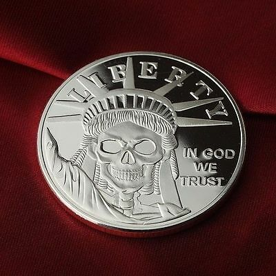 Statue of Liberty Skull design, 1 Troy oz .999 Fine Silver Bullion Round (Coin)
