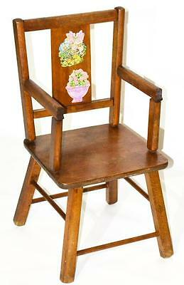 Vintage Child's Flower Painted Splat Back Chair - FREE Shipping [PL3348R]