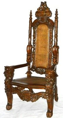 Antique Gothic Carved Throne Chair - FREE Shipping [PL2238R]