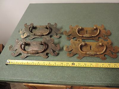 "Vintage Antique Set  4 Large Brass  Door Handles  Drawer Pulls 10"" x 4"""