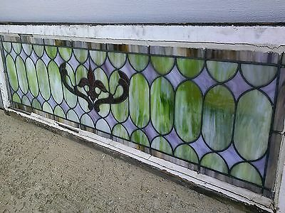 "Vintage Stained Leaded Glass 20"" X 58"" Transom Window Great Slag Colors"