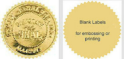 """500 Serrated Starburst Gold Silver Foil Notary Awards Seals Labels 2.0"""" Emboss"""
