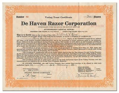 De Haven Razor Corporation Stock Certificate