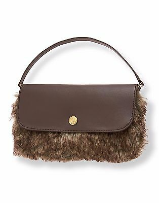 NWT Janie & Jack HIGHLANDS DARLING FAUX FUR Purse Brown Fall Riding Equestrian