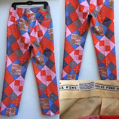 """Vintage Di Fini Pants Psychedelic Golf Pants Polyester 34"""" Waist 60s 70s"""
