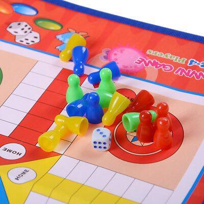 Non-woven Fabrics Foldable Ludo Snake Chess Board Game Family Game New UK