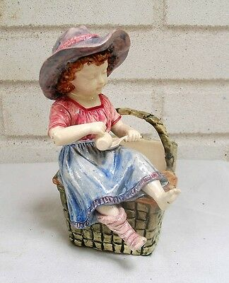 Rare Antique Majolica Child with Pitcher & Spoon Sitting on Basket