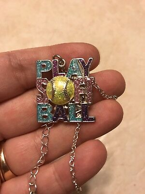 Justice Girls Glitter Enamel Play Softball Necklace
