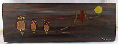 Four Owls on Branch Full Moon - Unique Hand-Painted Wood Wall Decor - Signed