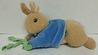 "Peter Rabbit Carrot Windup Musical Laying Down Plush 11"" Toy Lovey eden"