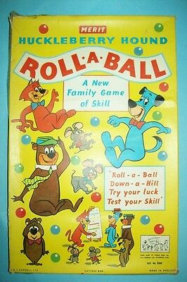 Rare/Vintage 1960 Huckleberry Hound Roll-A-Ball Marble Game by Merit - UK Import