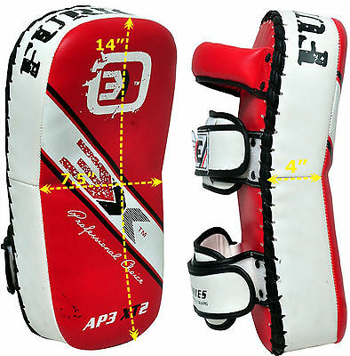 Thai Kick Boxing Strike Shield Focus Curved Pads MMA UFC Training Arm Pads Red