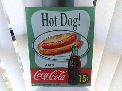 """Coca Cola  """"Hot Dog and Coca Cola In Bottles """"  Tin Sign"""