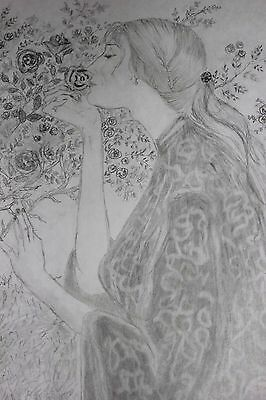 """Drawing  Woman """" NOT A PRINT """" Flower The Soul Of The Rose 1908 Waterhouse!!"""