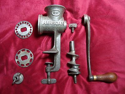 Vintage American 20 Hand Crank Meat Sausage Grinder Chopper with Attachments USA