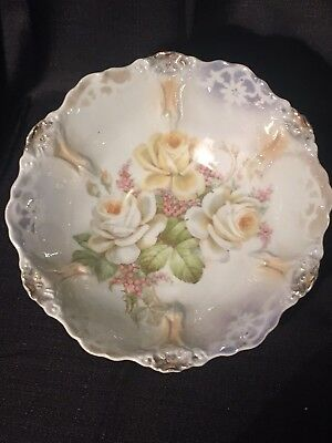 Large Porcelain Serving Bowl Iridescent w/ White & Yellow Roses Germany