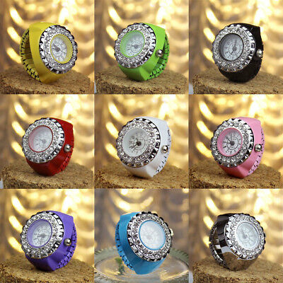 Fashion Women Candy Colors Crystal Numeral Handy Quatz Finger Ring Watch