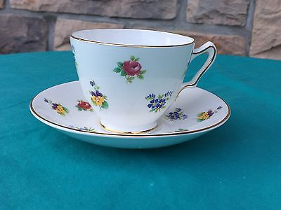 Crown Staffordshire FLORAL BOUQUET Cup & Saucer Royal Victoria ROV14