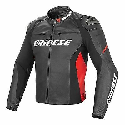 NEW Dainese Racing D1 Leather Jacket SIZE 50 Black/Black/Red
