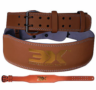 """Weight Lifting Leather Belt 4"""" Lumbar Back Support Gym Workout Power Training L"""