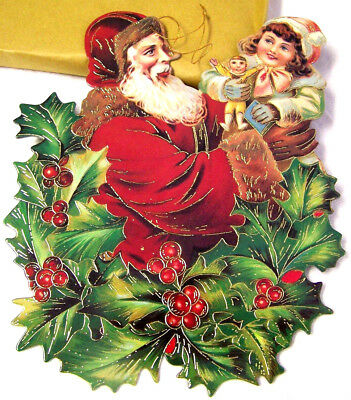 SANTA HOLDING GIRL with DOLLY in HOLLY Hanging CHRISTMAS ORNAMENT SHACKMAN