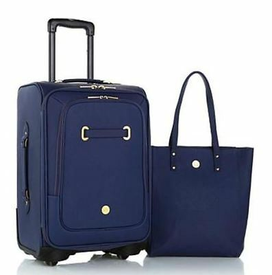"Joy Rich Leather Complete luggage set with 28"" XL 22"" Carry On & Wallet - NAVY"