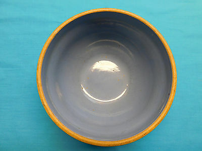 "Vintage Yellow Ware 7"" Blue Bowl Mixing Serving"