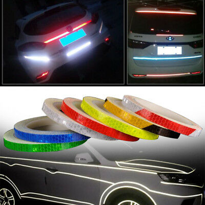 8M Reflective Car Bike Motorcycle Safety Warning Tape Sticker Glow Bright