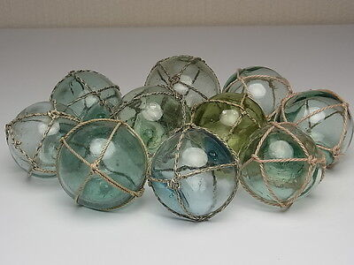 "Japanese Antique Old Glass Fishing Float Ball 2.1"" - 2.6"" Lot 5 Balls + Nets"