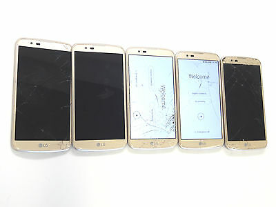 Lot of 5 LG K10 K428 T-Mobile Gold Smartphones All Power On Good LCD AS-IS GSM