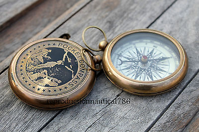 Handmade Solid Brass Working Compass Vintage Marine Pocket Compass Nautical Gift