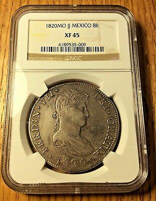 1820 JJ mexico 8 Reales silver NGC XF45 Ferdinand Revolution War Independence