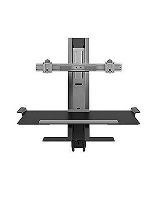 New Black Humanscale Quickstand w Large Platform w Freestanding or clamp mount