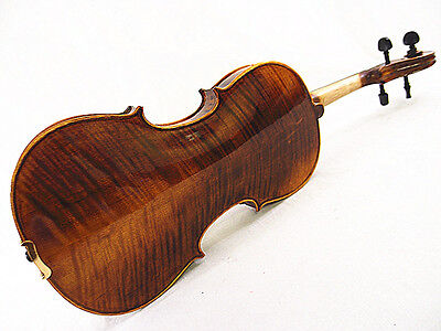 "New 15.5"" Viola - Antique Style Hand-made Flamed Back+Bow+Square Case  # V02"