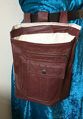 Brown leather & fabric belt forage bag zip & more pockets steampunk punk upcycle