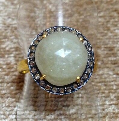Round Faceted White Sapphire Cocktail Ring W/ Rose Cut Pave Diamonds Gold Sz 7