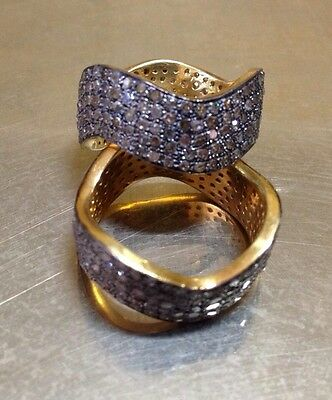 Rose Cut Pave Diamond Curve/wave Stacking Ring Gold Plate 2.3Cts Sz 6.5