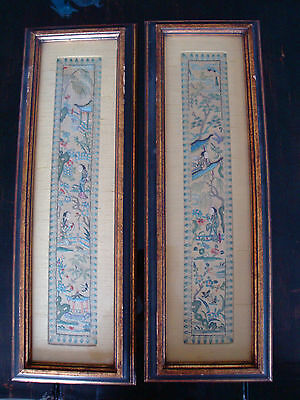 Pair of Antique Framed Chinese Stitch Silk Embroidery