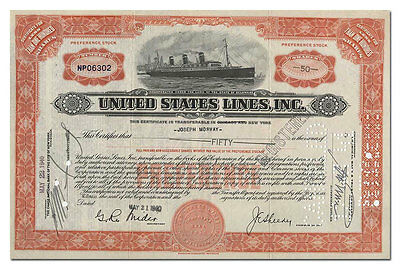 United States Lines Company Stock Certificate