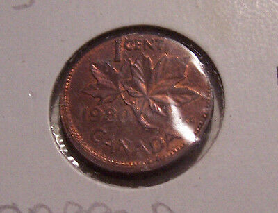 Error Capped Off Center Strike Canadian 1980 One Cent Coin