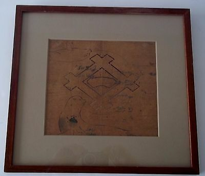 19th Century Framed Japanese Fabric Stencil