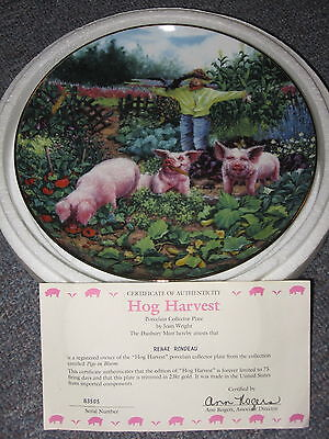 Hog Harvest Joan Wright Pigs in Bloom Danbury Mint Limited Ed Collectors Plate