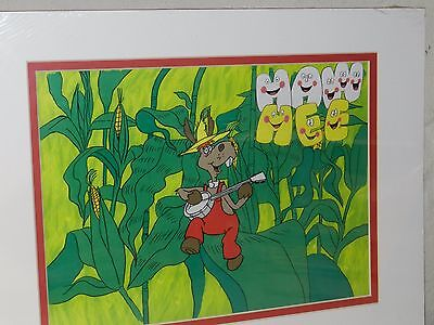 VTG 70s HEE HAW TV SHOW DONKEY BANJO ANIMATED CEL PAINTING ROCKABILLY DECOR