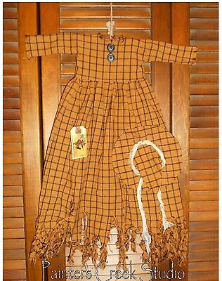 Primitive Decor Wall Dress Orange & Black RAGGEDY WITCH, HAG Halloween,Grungy