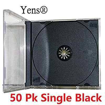50 CD Jewel Case Standard Black Tray DVD Disc New Yens Assembled 10.4mm